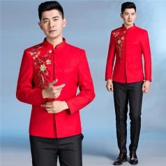 男士合唱服装红色中山装五四青年合唱演出礼服