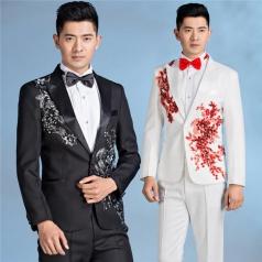 男士大合唱礼服绣花西服套装舞台演出服主持人礼服定制