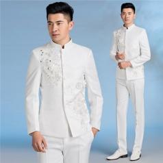 新款男士大合唱服装西服套装带钻燕尾服合唱指挥服装