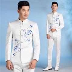 男士白修身中山装合唱服绣花梅花男士中式西服