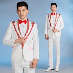 新款白色合唱西装合唱团西服亮片修身礼服舞台装