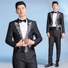 新款合唱指挥服装燕尾服男成人黑色舞台装