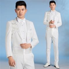 男士合唱礼服绣花套装演出舞台服白色合唱指挥服装