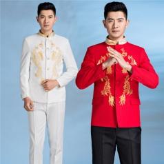 新款男士民国中山装五四青年装刺绣龙合唱服装定做