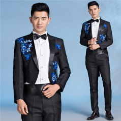 新款合唱指挥服装燕尾服男成人黑色立领绣花合唱服