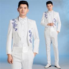 男士合唱服装舞台装新款大合唱指挥服装白色主持人礼服