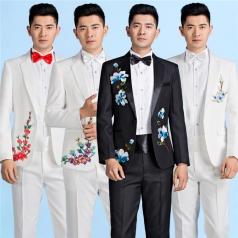 新款男士绣花合唱西装套装舞台表演服合唱舞台礼服设计