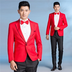 新款红色合唱服装西服套装男士合唱演出服舞台主持人服装