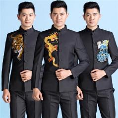 新款合唱服装表演服男成人绣龙合唱礼服定制