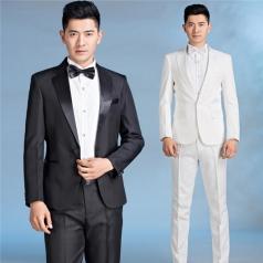 新款男士合唱演出服装西装套装男士青果领礼服