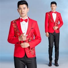 男士西服套装红色主持人服装大合唱服装定制