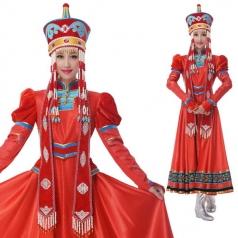 新款大红色少数民族舞蹈演出服蒙古舞服定制