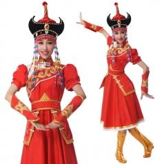 新款蒙古族舞蹈演出服装蒙古族表演服装定制