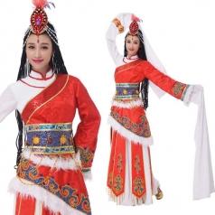 新款藏族少数民族舞蹈服装藏族舞演出服定制