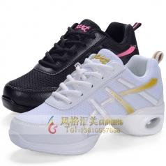 成人健美操舞鞋广场舞鞋女士软底网面增高现代黑白色舞蹈鞋跳舞鞋