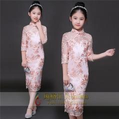 新款粉色纱裙演出礼服舞台表演服定制设计厂家