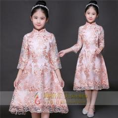 新款粉色半身长裙演出礼服定制设计直销