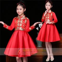 新款儿童红色演出礼服定制设计厂家直销