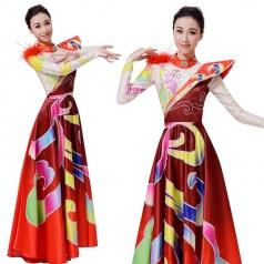 新款中式大摆裙年会晚会开场舞大摆裙舞蹈服装现代舞蹈服装