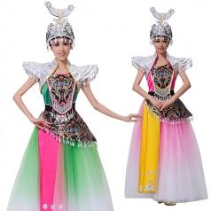 苗族舞蹈服装绿色舞蹈舞台装盛装女壮族舞演出服装
