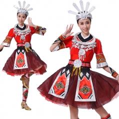 苗族舞蹈服装摆手幺妹等等我舞蹈服装红色少数民族舞服