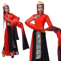 新款藏族舞蹈演出服装藏袍女西藏服装拉萨成人少数民族舞服装