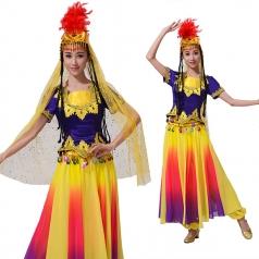 新款少数民族舞蹈服女短袖春秋民族舞蹈演出服装维吾儿族服装