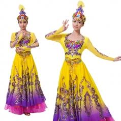 新疆舞蹈服装演出服女黄色新疆舞大摆裙成人少数民族舞服装