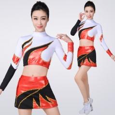新款健美操服装长袖啦啦操演出服装成人拉拉队服装套装表演服装