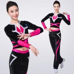 新款健美操服装长袖黑色成人健美操演出服装团体啦啦队比赛服装