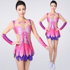 中小学生艺术体操服定制花式艺术考级比赛服装成人粉色舞台装设计