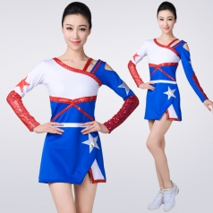 长袖啦啦操演出服装成人艺术体操拉拉队服装套装足球宝贝表演服装
