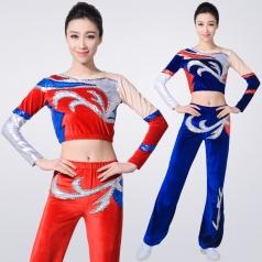 新款红色丝绒健美操服装团体比赛服装竞技体操服装艺术健美操服装