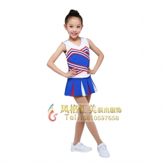 女童校园服装儿童体操表演服装蓝色啦啦操表演套装设计