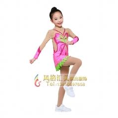 艺术体操服装校园演出服装粉色儿童啦啦操服装定制