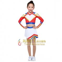 女童啦啦队服装长袖短裙舞蹈体操服装定制厂家