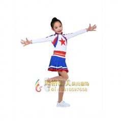 女童健美操演出服装少儿白色运动会啦啦操表演服装定制