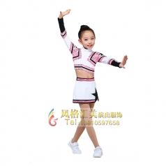 白色女童啦啦操服装,校园演出服装校园艺术操服装定制