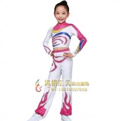 健美操儿童服装白色火纹健美服装校园竞技体操服装设计