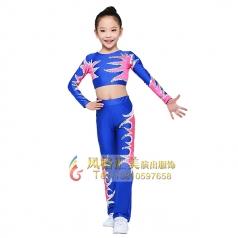 女童健美操服装校园竞技体操服装蓝色长袖儿童服装定制