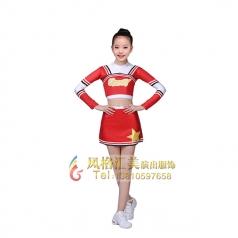 儿童健美操服装长袖啦啦操服装儿童拉拉队套装表演服装