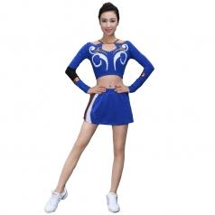 大学生啦啦操演出服装定制2018新款校园竞技演出服装蓝色/黑色经典健美操演出服装!