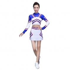 新款拉拉队服装定制女士长袖白色健美操服装舞台装啦啦操舞蹈服装
