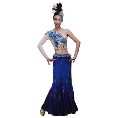 新款少数民族舞蹈服装傣族舞台演出服装蓝色孔雀舞塑身舞蹈服装定制!