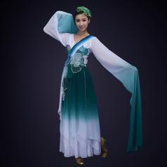 藏青色古典舞蹈演出服装女款长衫舞蹈演出服装定制!