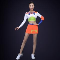 新款啦啦操服装男女套装学生拉拉队服装舞台装白色学生健美操服装
