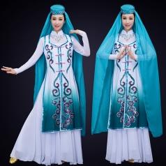 新款回族舞蹈演出服装白色民族舞蹈服晚会民族舞蹈演出服装定制!
