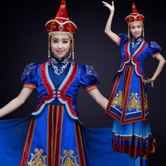 少数民族舞蹈演出服装大摆裙蒙古民族舞蹈表演服装定制!