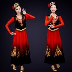 成人新款民族舞蹈服装大型舞台新疆舞蹈服定制