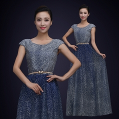 新款成人烫钻纱织舞台演出合唱演出服装女款无袖合唱比赛服定制!